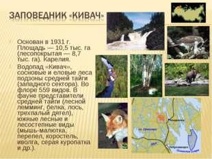 Основан в 1931 г. Площадь — 10,5 тыс. га (лесопокрытая — 8,7 тыс. га). Карели