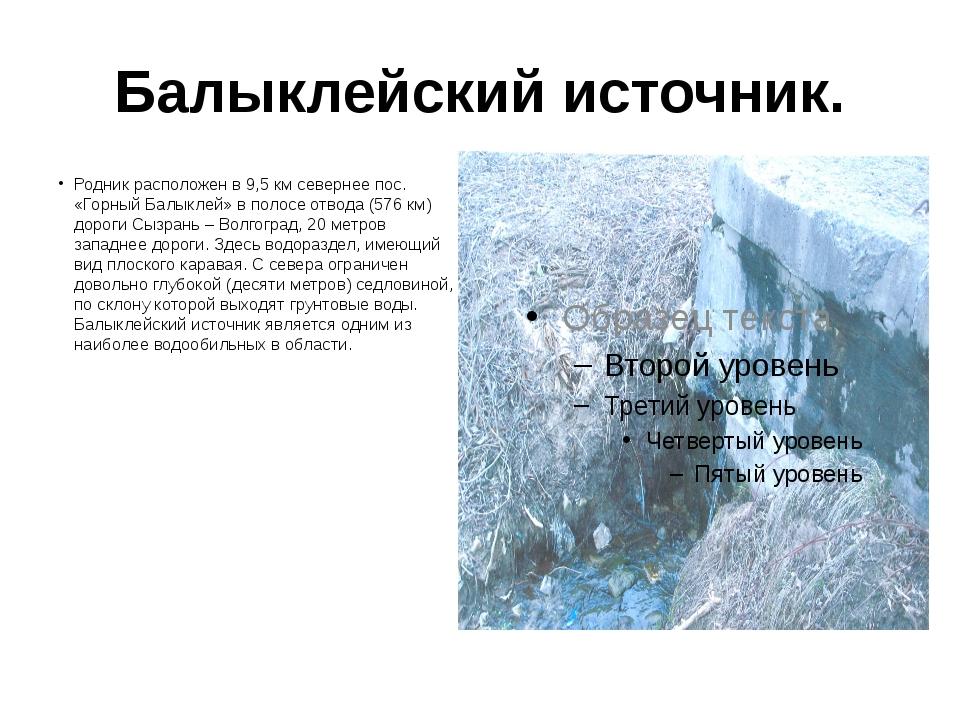 Балыклейский источник. Родник расположен в 9,5 км севернее пос. «Горный Балык...