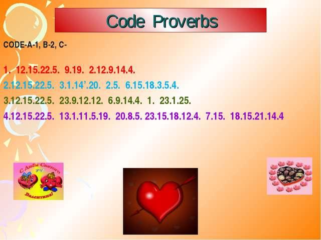 Code Proverbs CODE-A-1, B-2, C- 1. 12.15.22.5. 9.19. 2.12.9.14.4. 12.15.22.5....