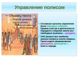 Управление полисом Основным органом управления было Народное собрание. Право