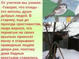 От учителя мы узнали: -Говорят, что птицы - это ангелы, души добрых людей. В