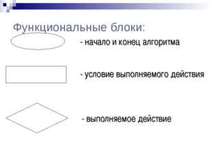 Функциональные блоки: - начало и конец алгоритма - выполняемое действие - усл