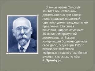 В конце жизни Сологуб занялся общественной деятельностью при Союзе ленинградс