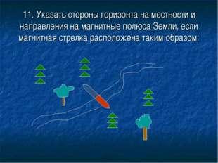 11. Указать стороны горизонта на местности и направления на магнитные полюса