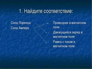 1. Найдите соответствие: Сила Лоренца Сила Ампера Проводник в магнитном поле