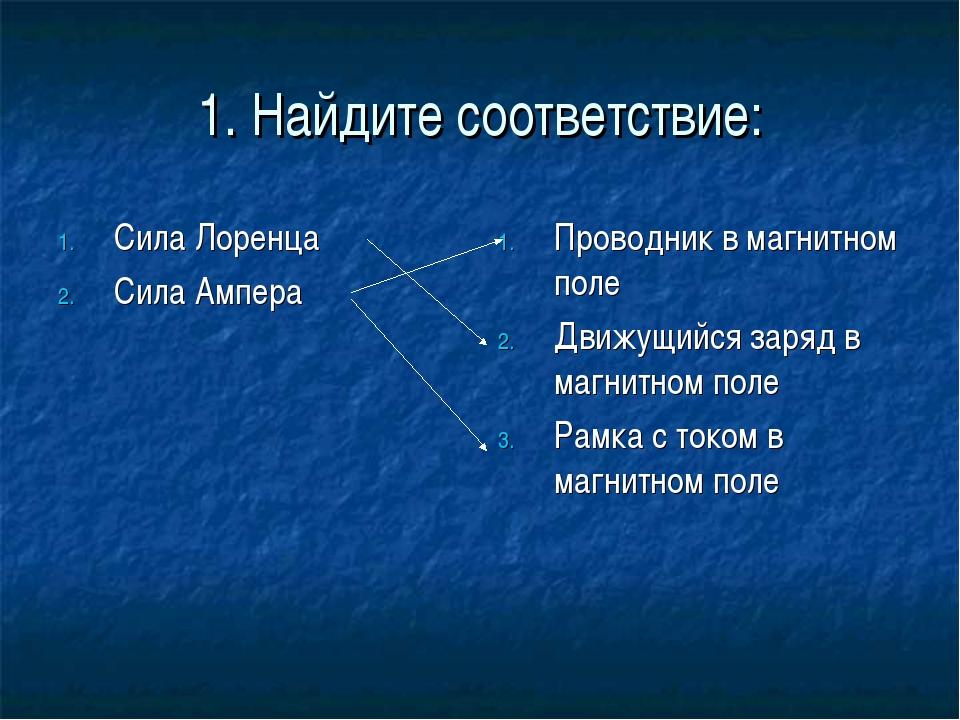 1. Найдите соответствие: Сила Лоренца Сила Ампера Проводник в магнитном поле...