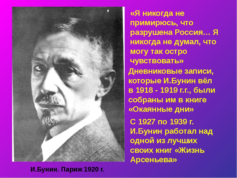 И.Бунин. Париж 1920 г. «Я никогда не примирюсь, что разрушена Россия… Я никог...