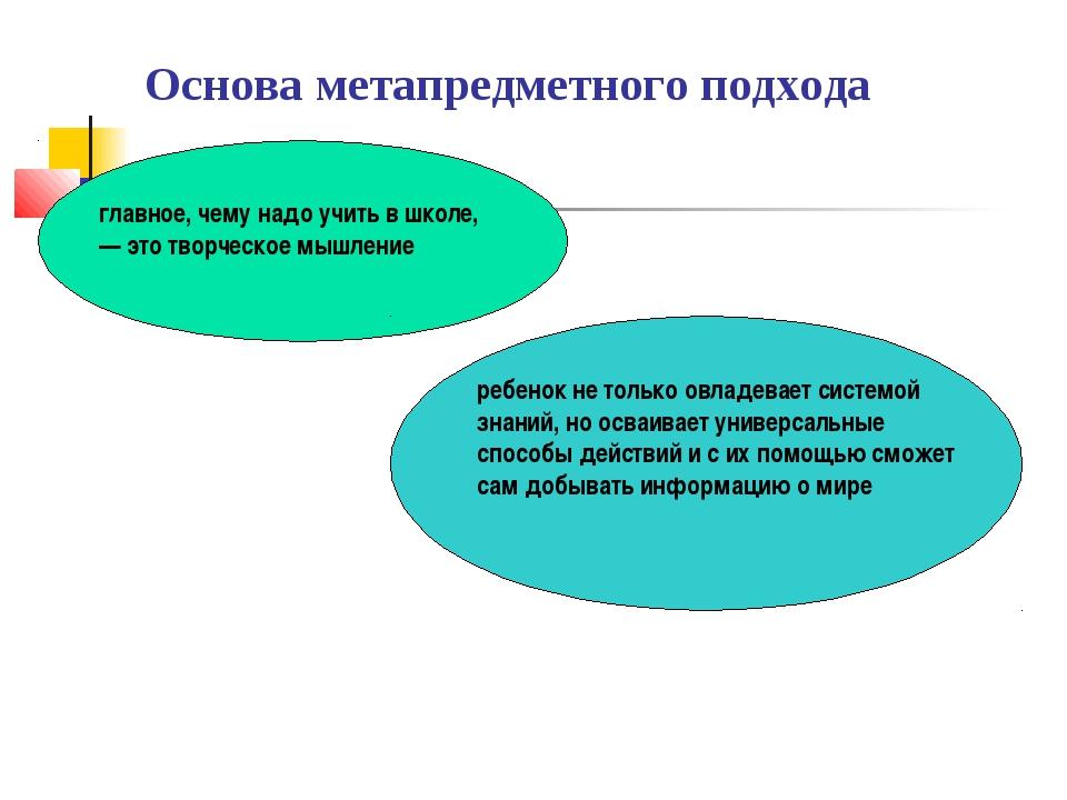 Основа метапредметного подхода главное, чему надо учить в школе, — это творче...