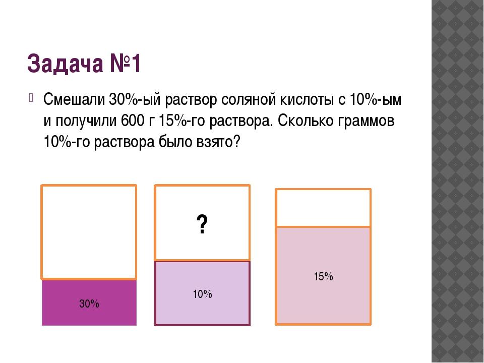 Задача №1 Смешали 30%-ый раствор соляной кислоты с 10%-ым и получили 600 г 15...