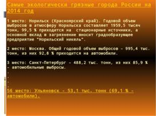 Самые экологически грязные города России на 2014 год 1 место: Норильск (Красн