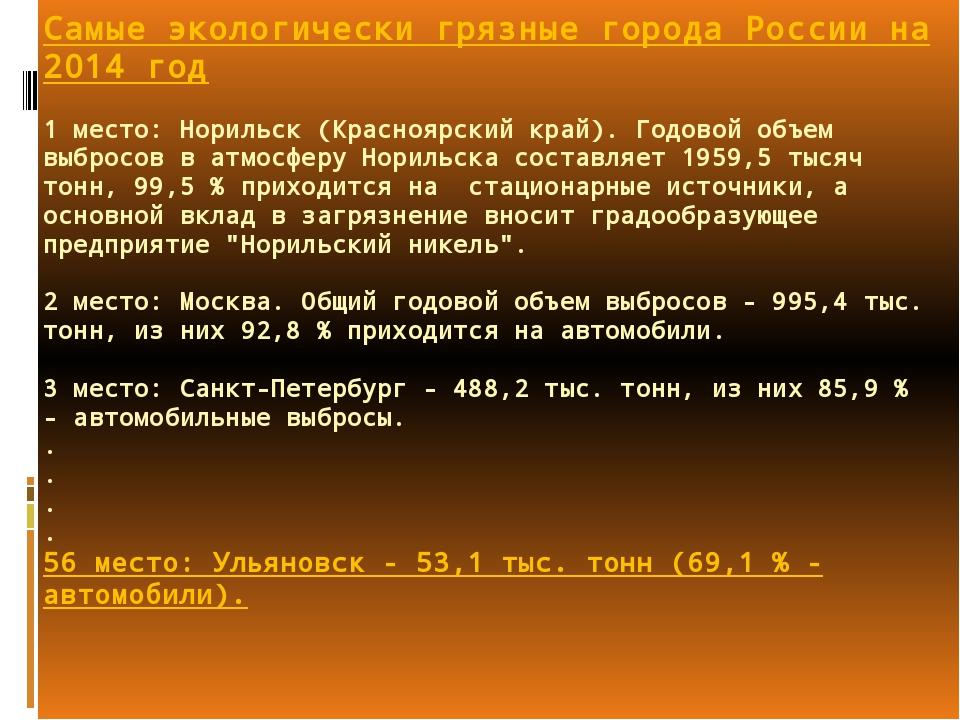 Самые экологически грязные города России на 2014 год 1 место: Норильск (Красн...