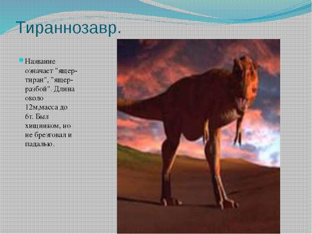 """Тираннозавр. Название означает """"ящер- тиран"""", """"ящер- разбой"""". Длина около 12м..."""