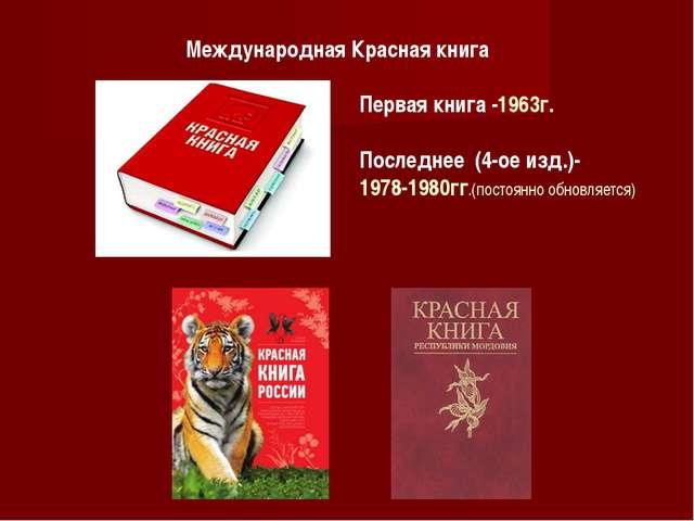 Международная Красная книга  Первая книга -1963г. Последнее (4-ое изд.)- 197...
