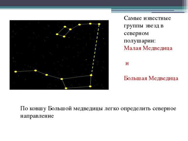 Самые известные группы звезд в северном полушарии: Малая Медведица и Большая...