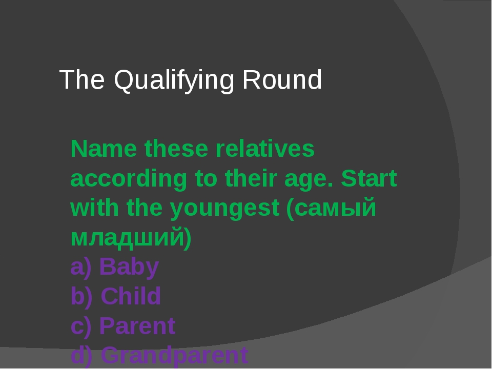 Name these relatives according to their age. Start with the youngest (самый м...