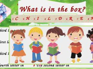 What is in the box? 1 The third letter in 5 The first letter in 2 The first l