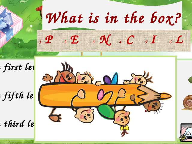 What is in the box? Check your answer! 1 The first letter in 4 The first lett...