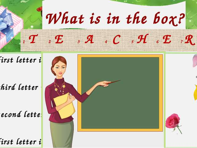 What is in the box? Check your answer! 1 The first letter in 5 The fifth lett...