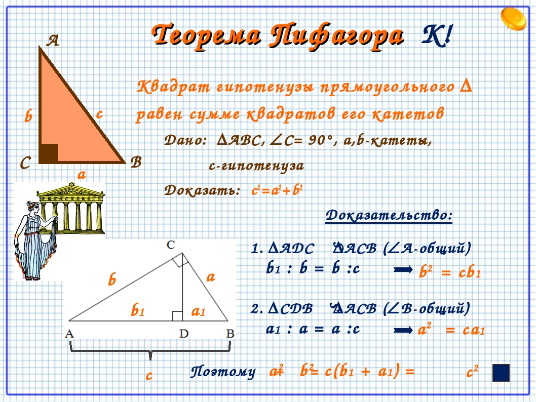 Теорема Пифагора К! Квадрат гипотенузы прямоугольного Δ равен сумме квадрато...