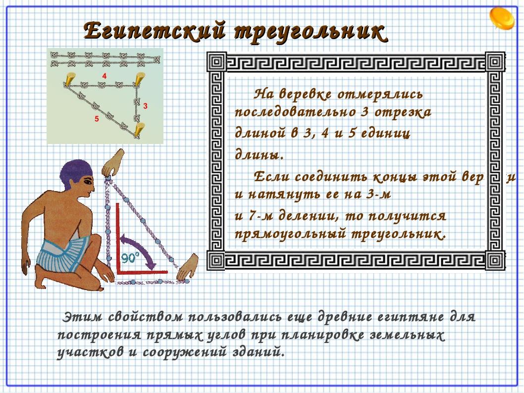 Египетский треугольник На веревке отмерялись последовательно 3 отрезка длино...