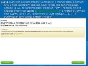 Шаг 3. В данном окне представлены сведения о статусе пробной печати КИМ и про