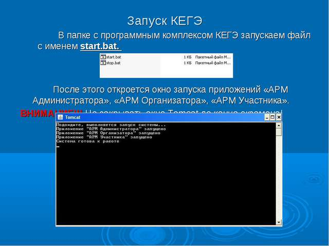 Запуск КЕГЭ В папке с программным комплексом КЕГЭ запускаем файл с именем s...