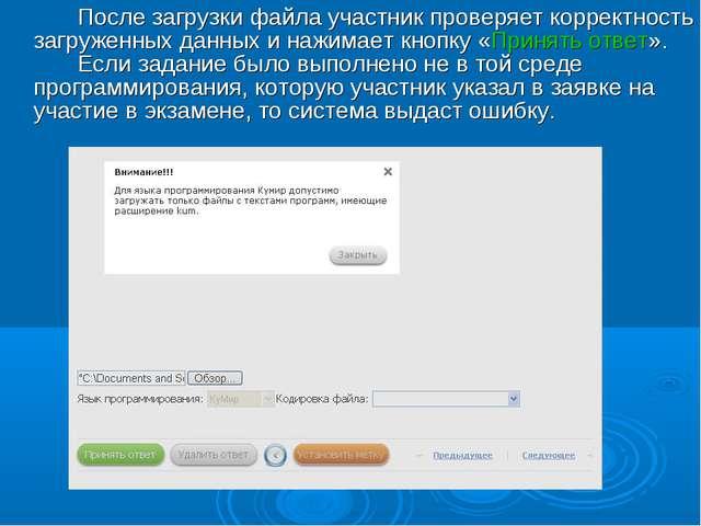 После загрузки файла участник проверяет корректность загруженных данных и н...