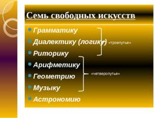 Семь свободных искусств Грамматику Диалектику (логику) Риторику Арифметику Ге
