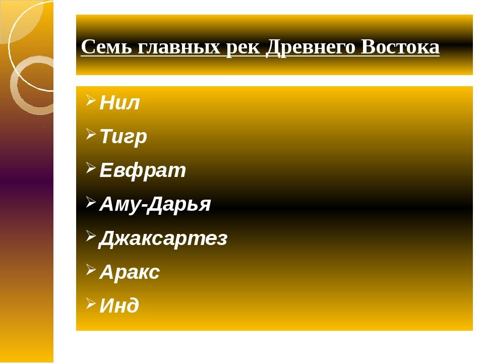 Семь главных рек Древнего Востока Нил Тигр Евфрат Аму-Дарья Джаксартез Аракс...