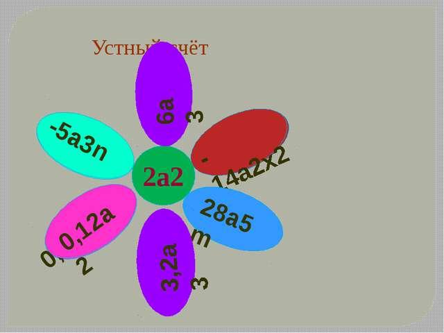 Устный счёт 2а2 -2,5an 0,06 0,12a2 -5a3n 14а m 3 3a -7х2 6a3 -14a2x2 28a5m 1...