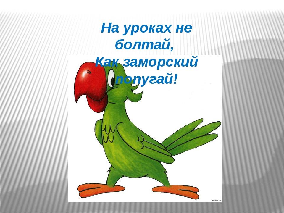 На уроках не болтай, Как заморский попугай!