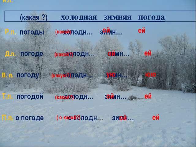 холодная зимняя погода И.п. Р.п. погоды холодн… зимн… Д.п. погоде холодн… зи...