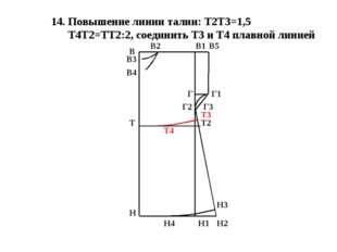14. Повышение линии талии: Т2Т3=1,5 Т4Т2=ТТ2:2, соединить Т3 и Т4 плавной лин