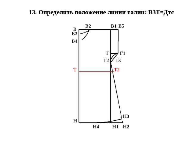 13. Определить положение линии талии: В3Т=Дтс В Н В1 Н1 В2 В3 В4 Г В5 Г1 Г2 Г...