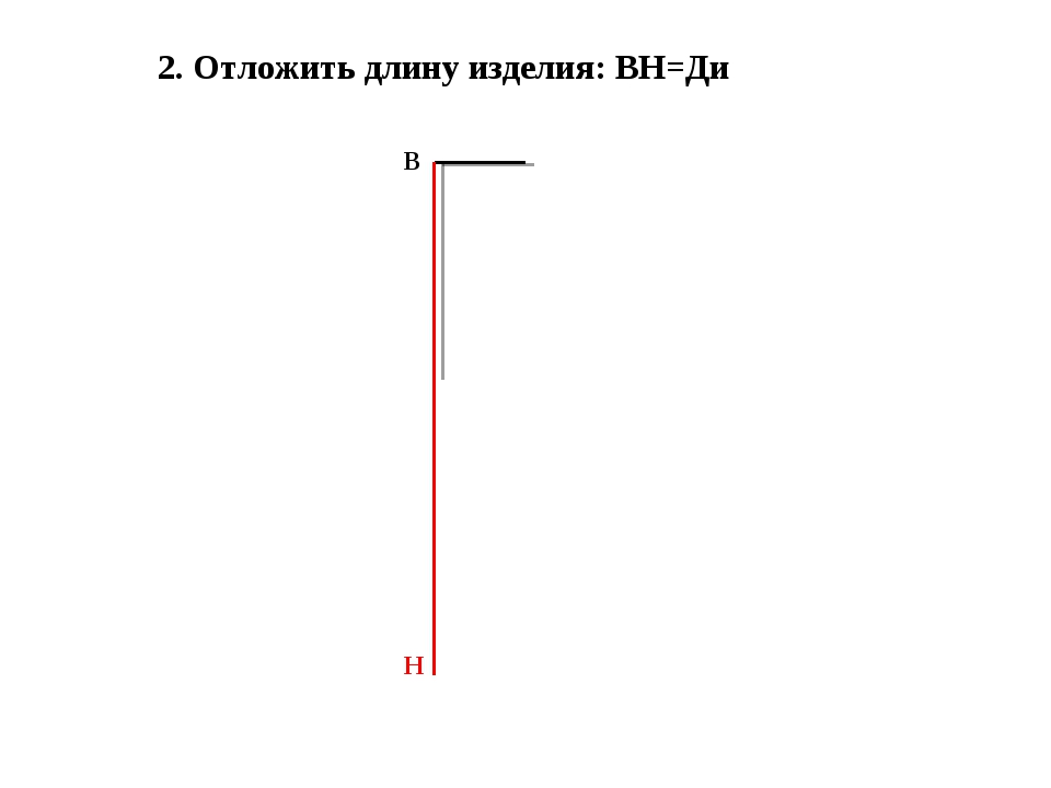 2. Отложить длину изделия: ВН=Ди В Н