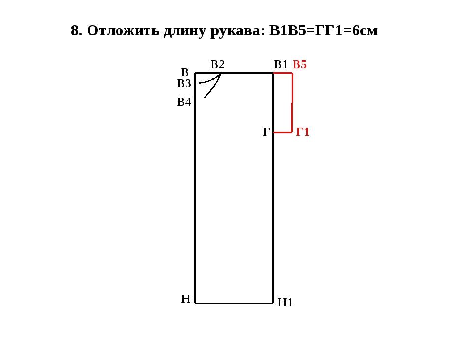 8. Отложить длину рукава: В1В5=ГГ1=6см В Н В1 Н1 В2 В3 В4 Г В5 Г1