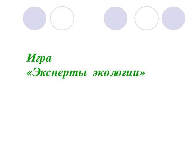 Игра «Эксперты экологии»