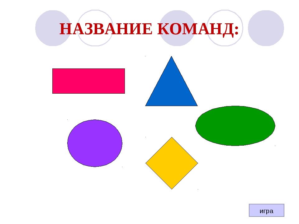 НАЗВАНИЕ КОМАНД: игра