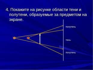 4. Покажите на рисунке области тени и полутени, образуемые за предметом на эк