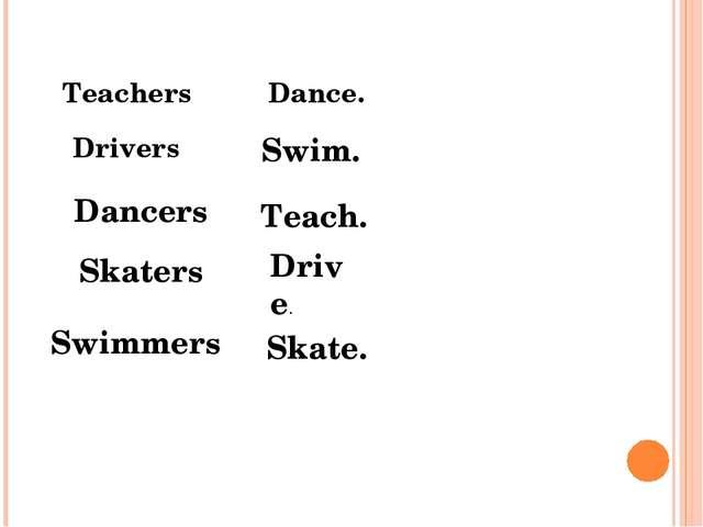 Teachers Drivers Dancers Skaters Swimmers Dance. Swim. Teach. Drive. Skate.
