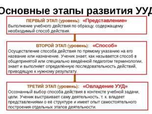 Основные этапы развития УУД ПЕРВЫЙ ЭТАП (уровень): «Представление» Выполнение