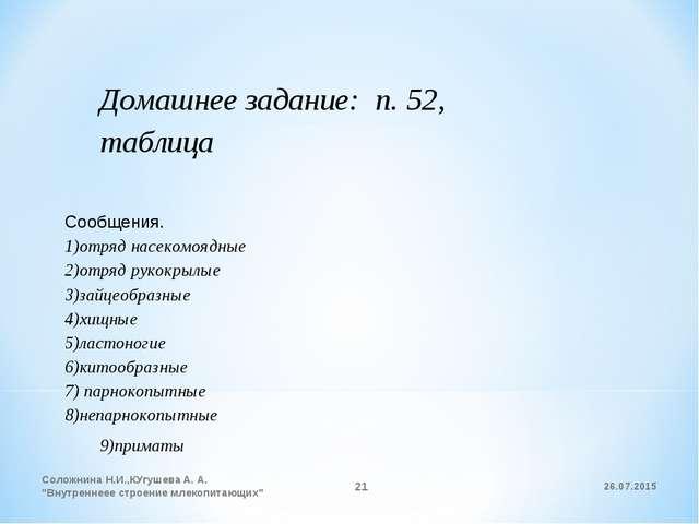 Домашнее задание: п. 52, таблица Сообщения. 1)отряд насекомоядные 2)отряд рук...