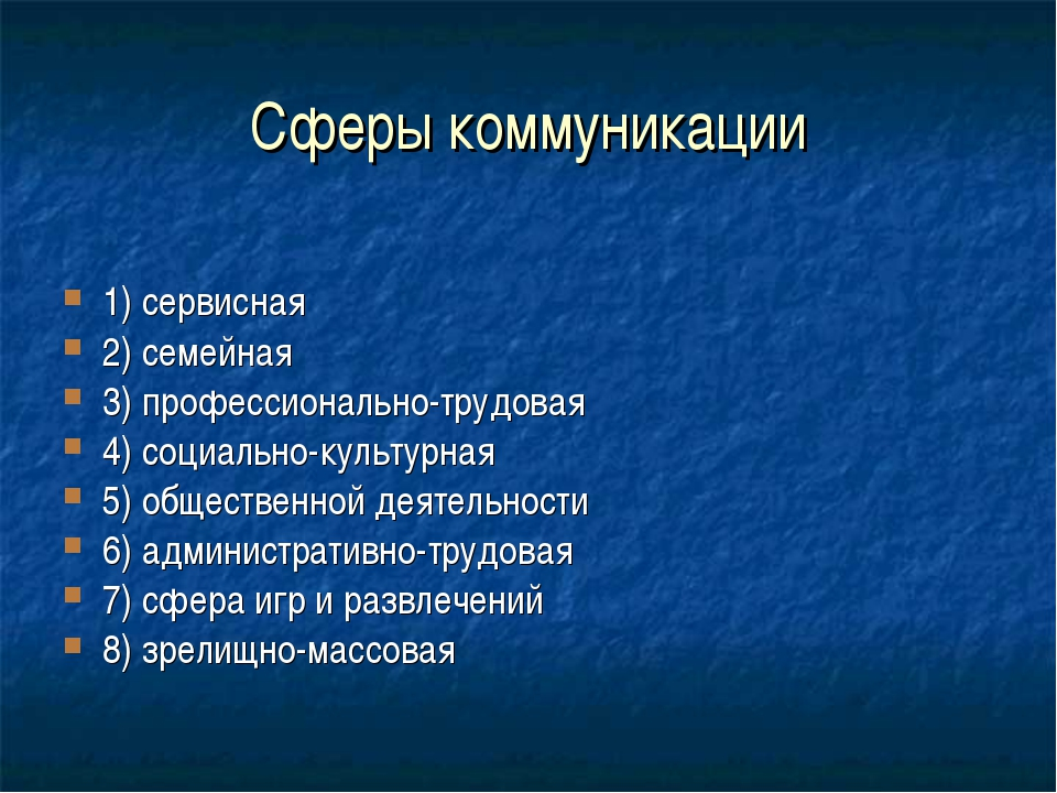 Сферы коммуникации 1) сервисная 2) семейная 3) профессионально-трудовая 4) со...