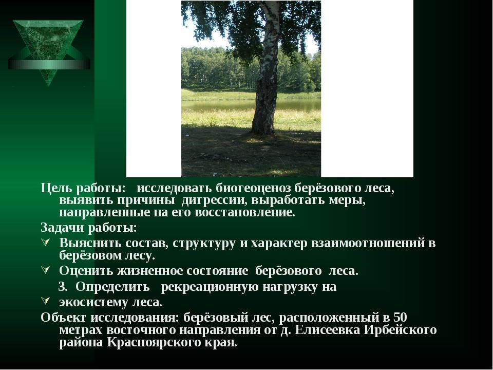 Цель работы: исследовать биогеоценоз берёзового леса, выявить причины дигресс...