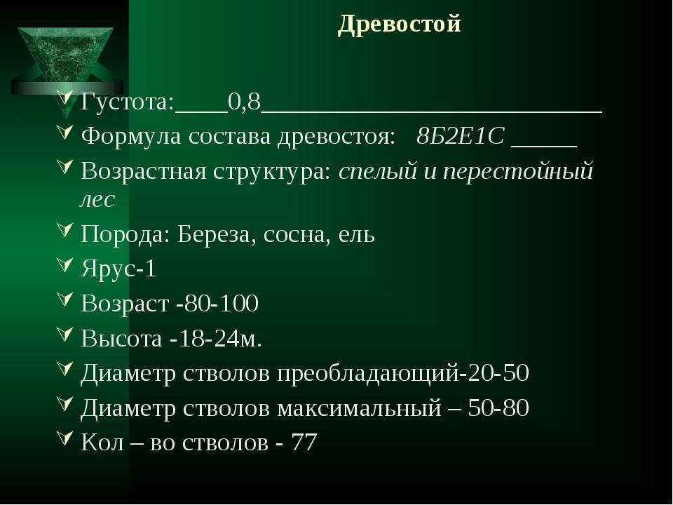 Древостой Густота:____0,8__________________________ Формула состава древосто...