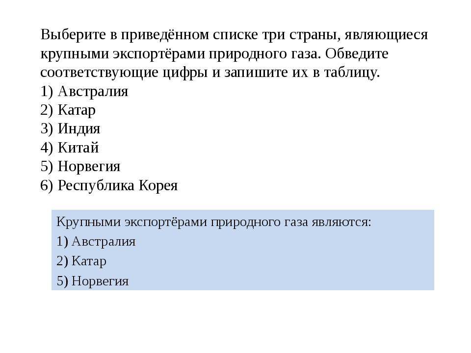 Выберите в приведённом списке три страны, являющиеся крупными экспортёрами пр...