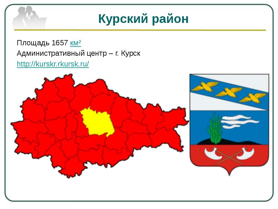 Курский район Площадь 1657 км² Административный центр – г. Курск http://kursk...