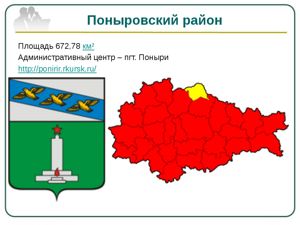Поныровский район Площадь 672,78 км² Административный центр – пгт. Поныри htt...