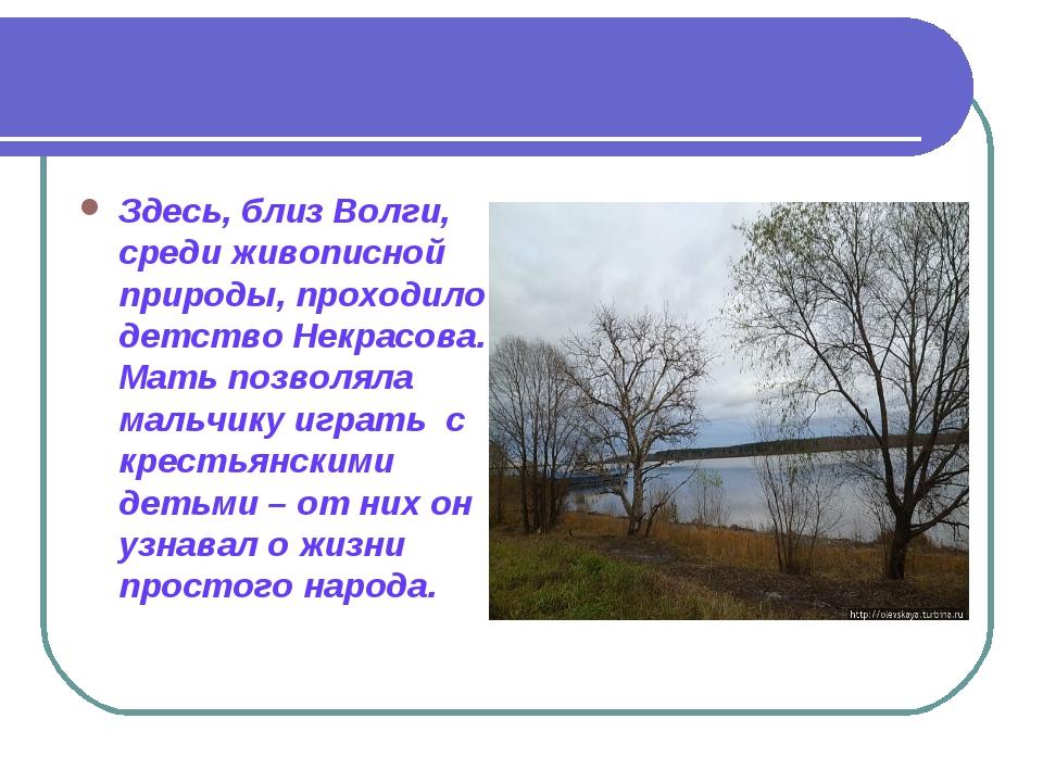 Здесь, близ Волги, среди живописной природы, проходило детство Некрасова. Мат...