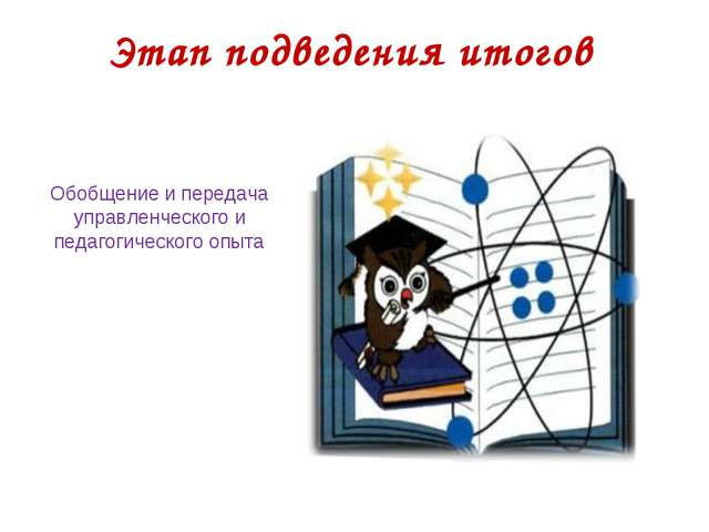 Этап подведения итогов Обобщение и передача управленческого и педагогического...